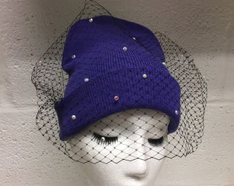Purple Veiled Beanie Hat with Pearls