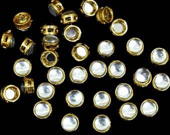 9MM, Silver Color Round Shape Kundan Stones-EMBKS5422