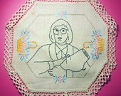 Twin Peaks, Log Lady, hand embroidered vintage doily - David Lynch