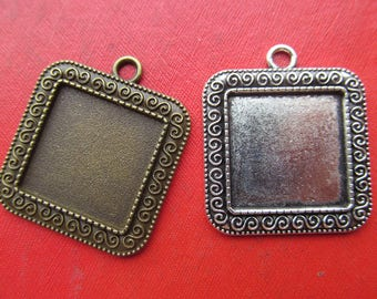 20mm Square Pendant Bezel Setting, 20mm Cabochon Tray - Great to Match Glass and Epoxy