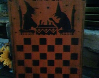 Primitive Fall Halloween wood checkerboard sign