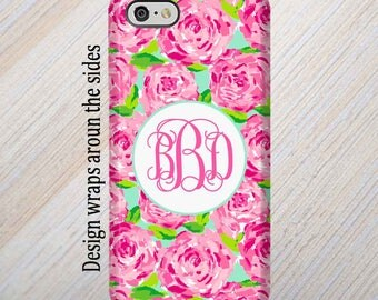 iPhone 7 Case, iPhone 8 Case, Monogram Case, iPhone 7 Plus Case , Personalized, iPhone 6 Case, Lilly Pulitzer Inspired, Galaxy S8 Plus Case