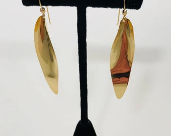 EARRINGS-14K Yellow Gold Long Contemporary Modern Free Form Leaf Vintage Dangle Drop Earrings 1990s Statement Earrings WildRosesVintage