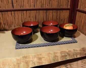 Vintage Japanese Black Lacquer Rice Bowl Set of 5