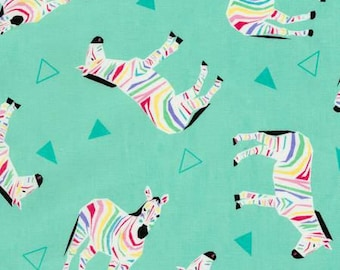 Rainbow Zebras Cotton Woven Fabric by Timeless Treasures