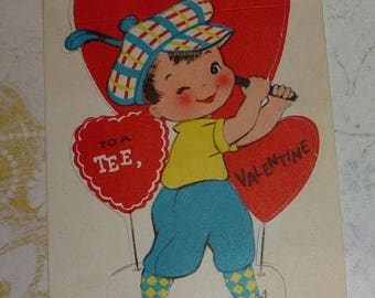 ON SALE till 7/28 Little Golfer - You Suit Me to a Tee Vintage Valentine Card