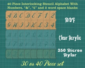 50mm Interlocking Alphabet Stencil PLUS Numbers PLUS -spacers and More ISA002