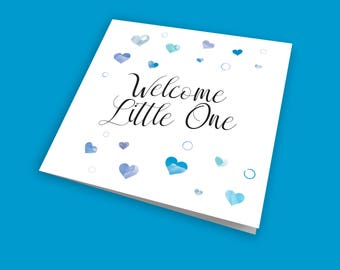 Welcome Little One, New Baby Boy Card, Birth Card, Newborn Card, Colourful Card, with subtle glitter finish