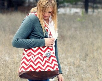 ON SALE Red Chevron Concealed Carry Messenger Bag, Diaper Bag Style, Conceal Carry Handbag, Concealed Carry Purse, Conceal