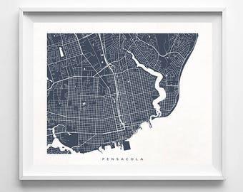 Pensacola Map, Florida Print, Pensacola Poster, Florida Art, Christmas Decor, Modern Art, Christmas Decorations, Dorm Wall Decor, Christmas