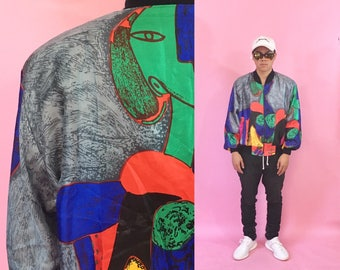 Vintage picasso jacket vintage windbreaker silk bomber jacket 1990s 1980s fresh prince cross colours coogi 90s 80s