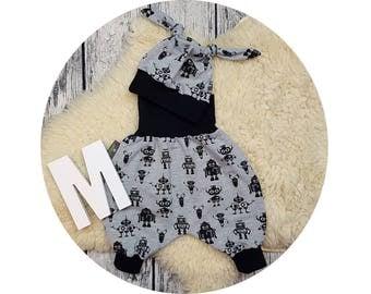 Newborn baby set, gift, harem trousers, harem pants, pants, baby pants, baby, Mitwachsen pants, Cap, node cap, robot, robot, screwdrivers, hipster
