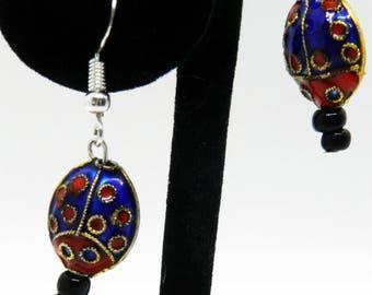 Cloisonné Lady Bug Earrings, Black Onyx Stone Beaded Earrings, Sterling Pierced Earrings, Asian Earrings, Lady Bug Lover Gift, Dangles