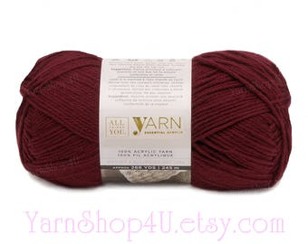 BURGUNDY. All Things You Essential Acrylic Yarn. A solid Red Wine Merlot Color. Big 4.5oz Worsted Yarn Same as Michael's Impeccable Burgundy
