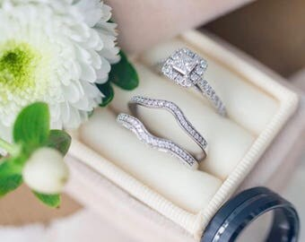 Wedding Ring Box in Champagne Velvet and Grosgrain Ribbon For Wedding Gift or Wedding Service