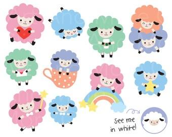 Cute Digital Sticker Cute Sheep Clipart Sheep Planner Sticker Lamb Clip Art Sheep Sticker Rainbow Clipart Animal Planner Sticker Digital