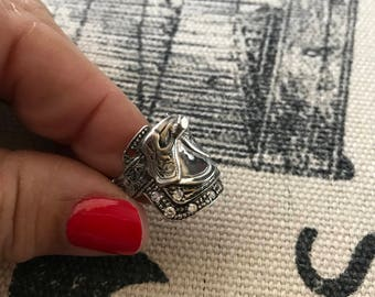 Sterling Silver Saddle Ring Size 6 1/4 10.1 Grams