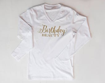 """New """"BIRTHDAY BEAUTY"""" Woman Long Sleeve White Gold Comfy Cotton Shirt *Perfect For A Gift!*"""