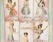 80% off Mothers Day Sale Vintage Fairies Digital Collage Sheet Large Tags Bookmarks Labels Journaling Scrapbooking Cardmaking Decoupage Embe