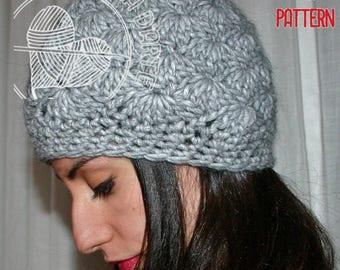 Crochet Pattern schema italiano,punto ventaglio, come fare cappello uncinetto tutorial, berretto donna, papalina