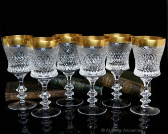 Vintage Crystal Wine Glasses with 24K Gold Rim, Wine Goblets, Set of 6 / Mid Century Bar Cart Accessories