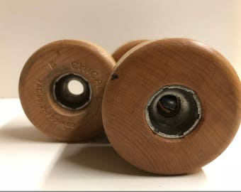 Set of Four Wood / Wooden Wheels with Metal Core / Center . Toy Making . Art Assemblage . Steampunk . Roller Skate Wheels . Chicago Wheels