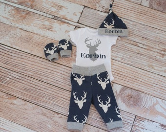 Personalized Baby Deer Antlers/Horns Bodysuit, Hat, Scratch Mittens Set with Grey Trim + Name and Deer Bodysuit
