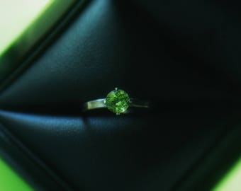 Sz 6 Peridot rustic ring wire wrapped in sterling silver