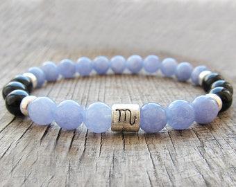 Scorpio bracelet Aquamarine bracelet Zodiac jewellery Scorpio gifts Zodiac bracelet Serenity bracelet Chakra bracelet Meditation bracelet