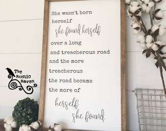 Framed farmhouse style she found herself Sign