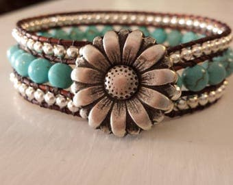 South Western Beaded Turquoise Leather Wrap Cuff Bracelet