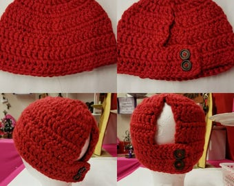 Adjustable Messy Bun, Pony Tail beanie with buttons