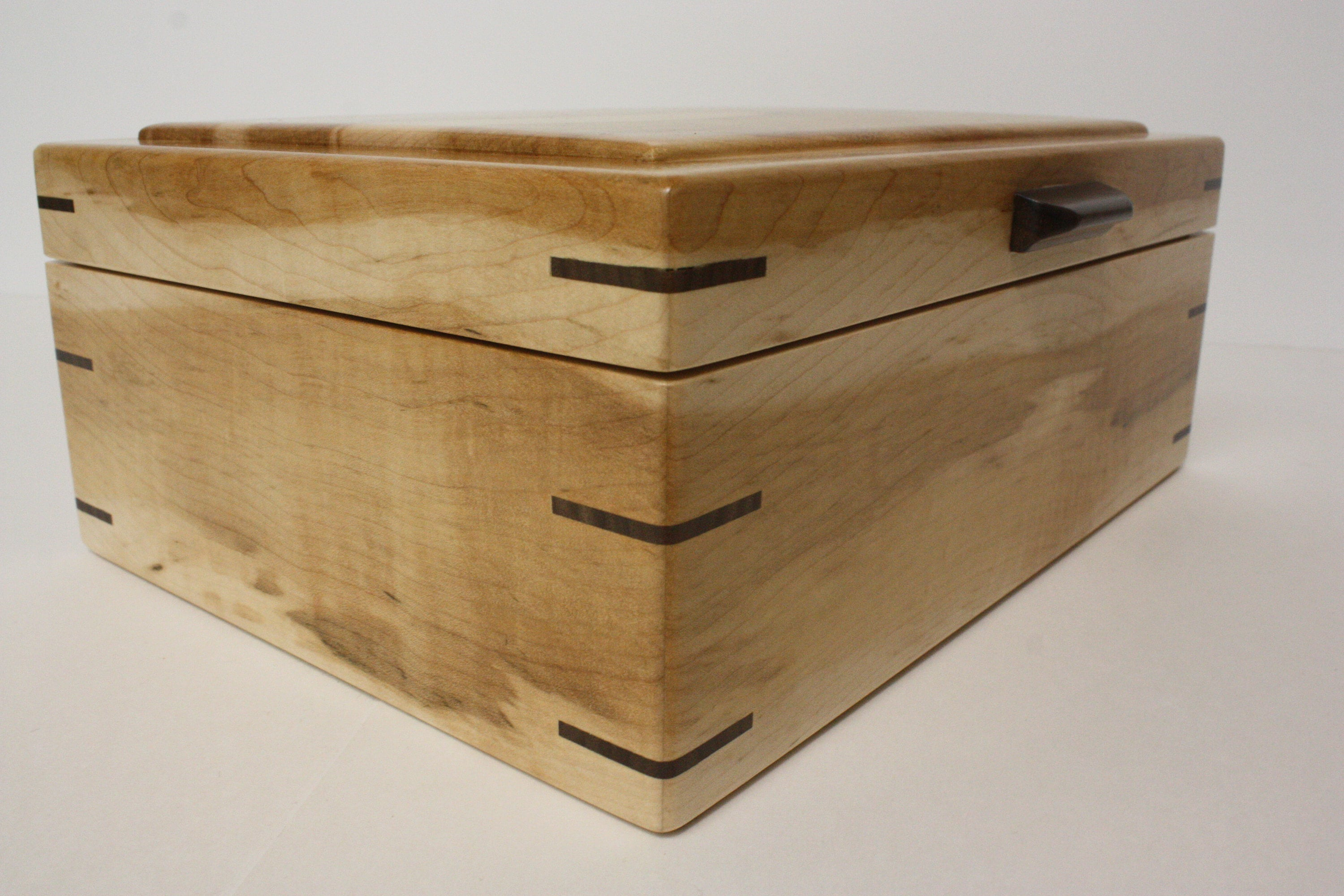 Brown Maple Wood Box with Walnut Handle
