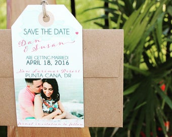 Antigua Wedding Invitation Save the Date Luggage Tag Magnet with your Photo and a Map. Beach/natural tones.
