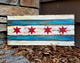 Rustic Wooden Chicago Flag - Chicago Wall decor - Chicago Themed Wall Hanging