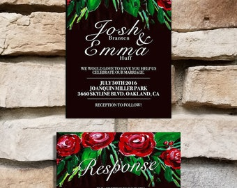 Red Roses Wedding Invitation Set