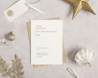 """Styled stock photography - 5x7"""" stationery mockup - white card and kraft envelope - High Res Jpeg + Psd Smart object - Christmas cards"""