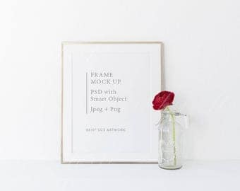 """Frame mockup - 8x10"""" - Styled stock photography - PSD with smart object and High res Jpeg - perfect for prints, illustration - Valentines"""