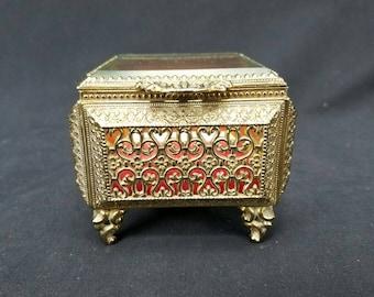 Candsrea Art Deco Vintage Gold Plated Jewelry Trinket Box Red Felt Inside