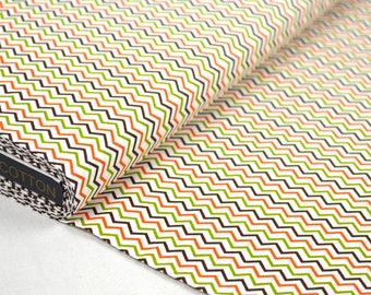 """Zig - Zag green / Orange"" 100% cotton fabric sold in multiples of 50cm"