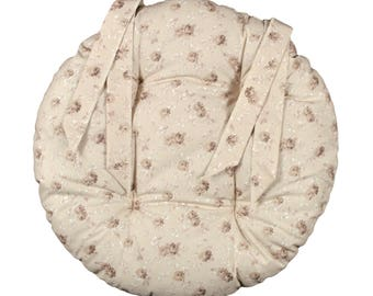 """Round Chair pad D.40cm """"Off-white flowers"""""""