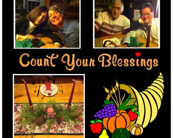 Thanksgiving Premade Page • 12x12 Scrapbook Page • Traditional Cornucopia • Count Your Blessings • Exclusive Design • Crafts by the Sea