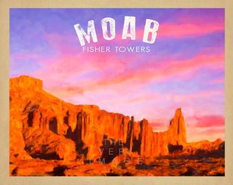 Moab Poster, Canyonlands Print, Arches National Park Fisher Towers Print, Utah Poster Wall Art Home Decor #vi835