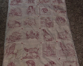 Vintage Victorian Redwork Quilt Stuffed With Backing Very Good Condition Hand Embroidered Cotton Red & White No Damaged Old Loved Statement