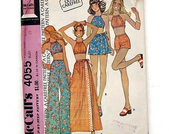 Vintage 1974 McCall's Halter Top, Mini & Maxi Skirt, Pants, Shorts Sewing Pattern #4055 - Size 11/12 (Bust 32)
