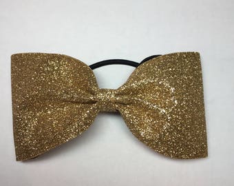 Gold glitter tailless cheer bow
