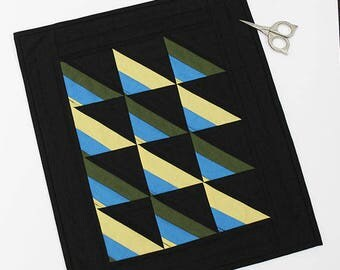 Amish Bars miniature quilt candle mat Table topper runner solid cotton fabric black