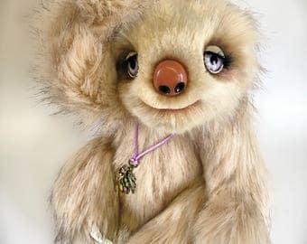 """Esmé - 15"""" OOAK Sloth Artist Bear by Devine Bears"""