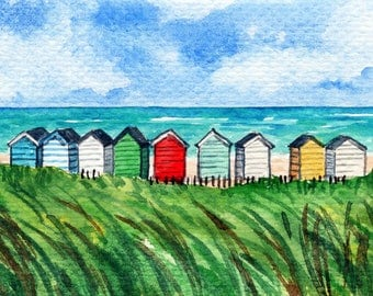 ACEO Original Watercolor Painting-Colorful Beach Huts at Southwold,Suffolk/England/Seascape