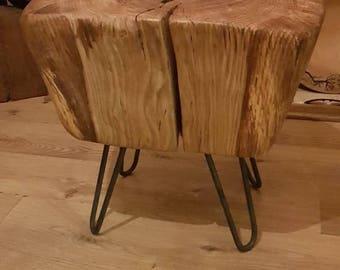 Oak stump infused with aluminium on steel hairpin legs